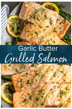 Garlic Butter Salmon is a simple and healthy dish you'll want to be making all summer long! This easy grilled salmon recipe is one of the best and most flavorful. The garlic lemon butter salmon is so light and tasty, and it is just perfect paired with our grilled lemon butter asparagus! #thecookierookie #salmon #grilledsalmon #healthy #grilledrecipes