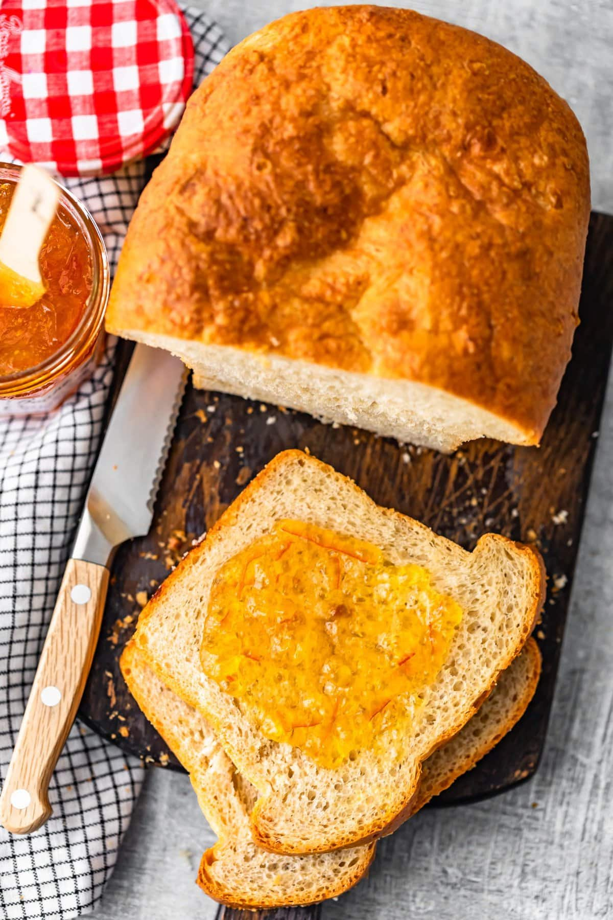 sandwich bread topped with orange marmalade