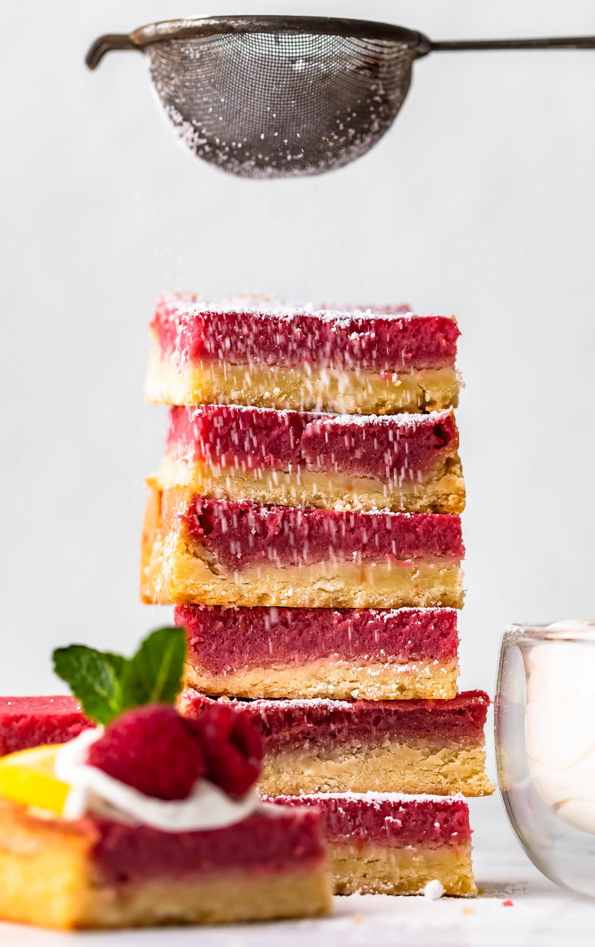stack of raspberry lemon bars