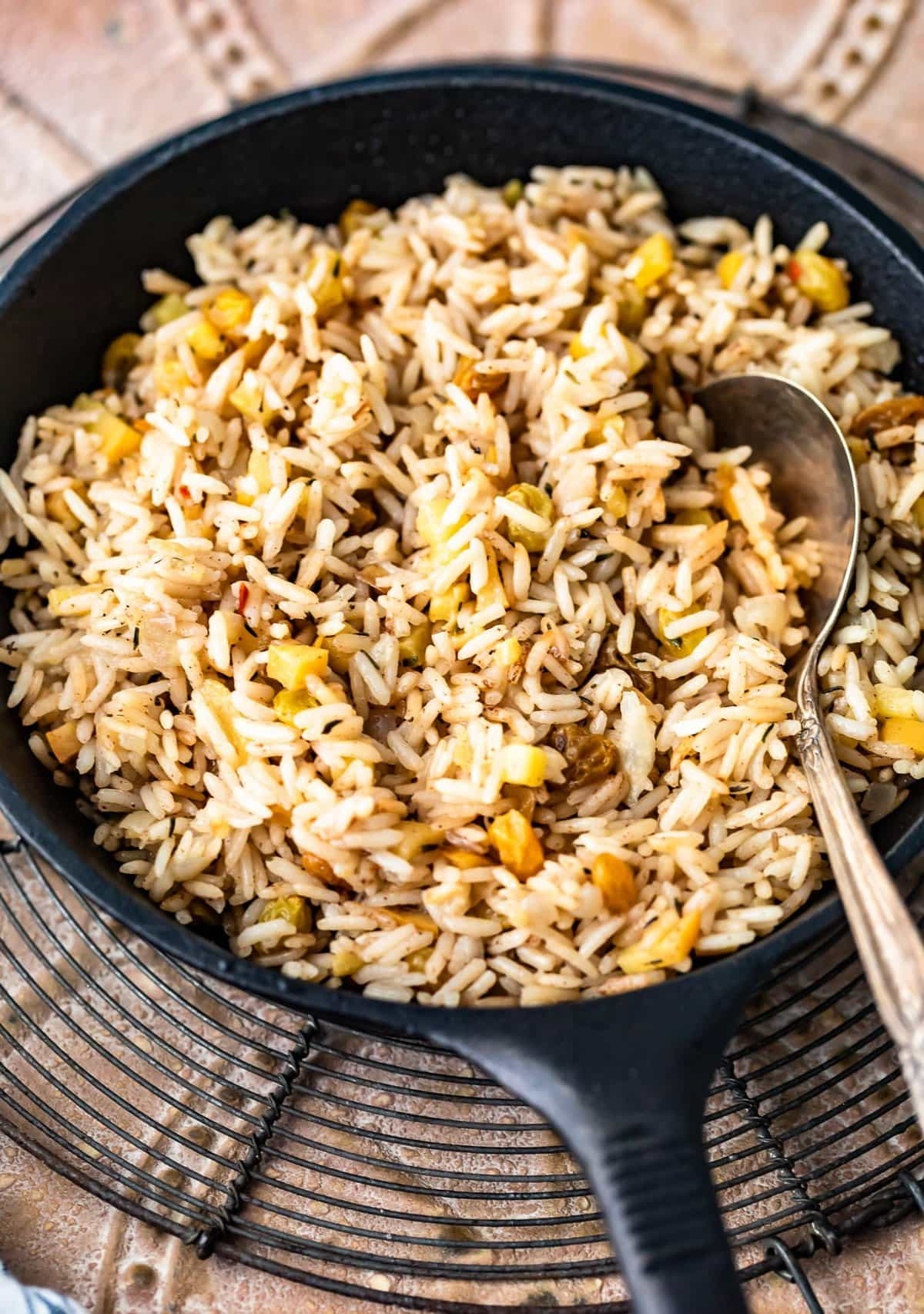 rice pilaf in a skillet