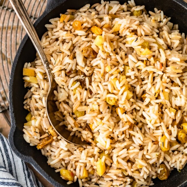 A bowl of food, with Pilaf and Spice