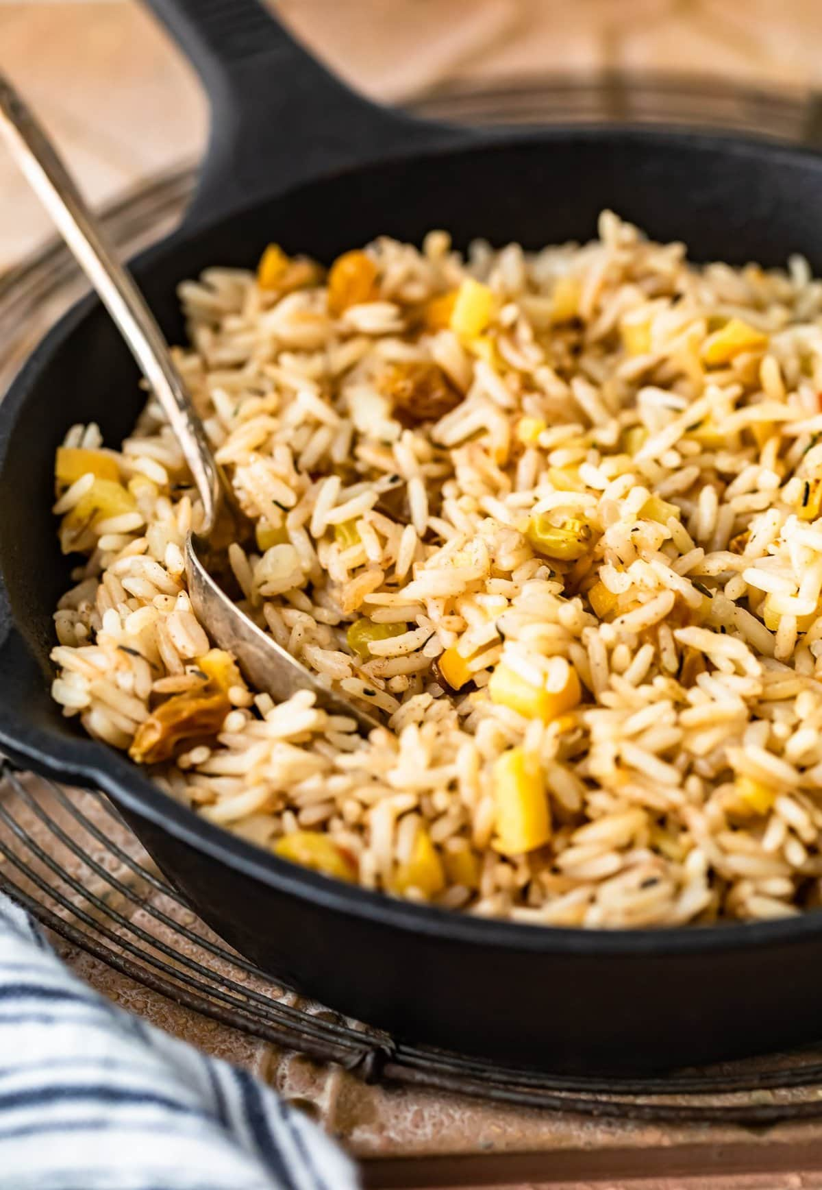 close up on rice made with apples and raisins