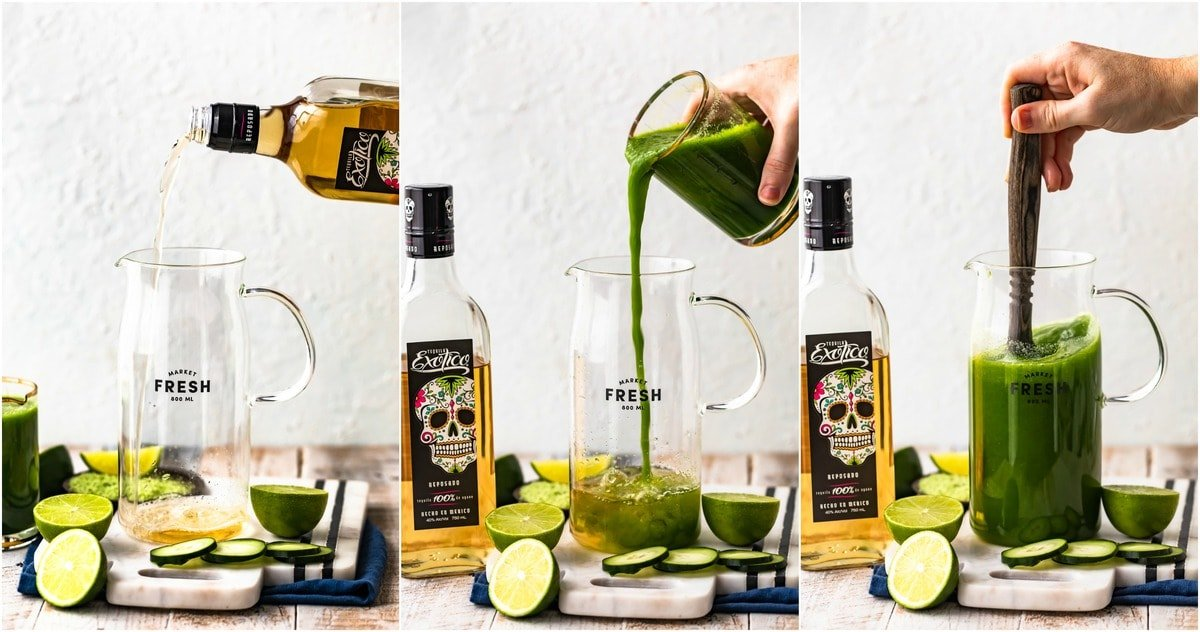 step by step photos of how to make cucumber margaritas