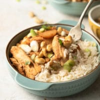 a bowl of cashew chicken and rice