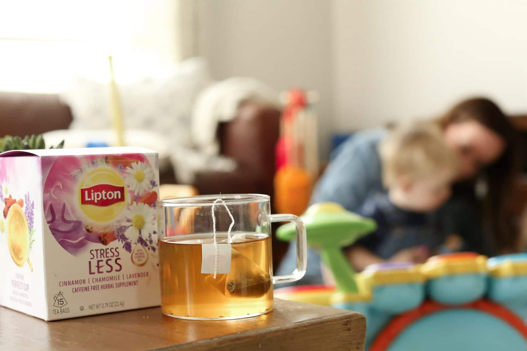 shot of lipton stress less tea