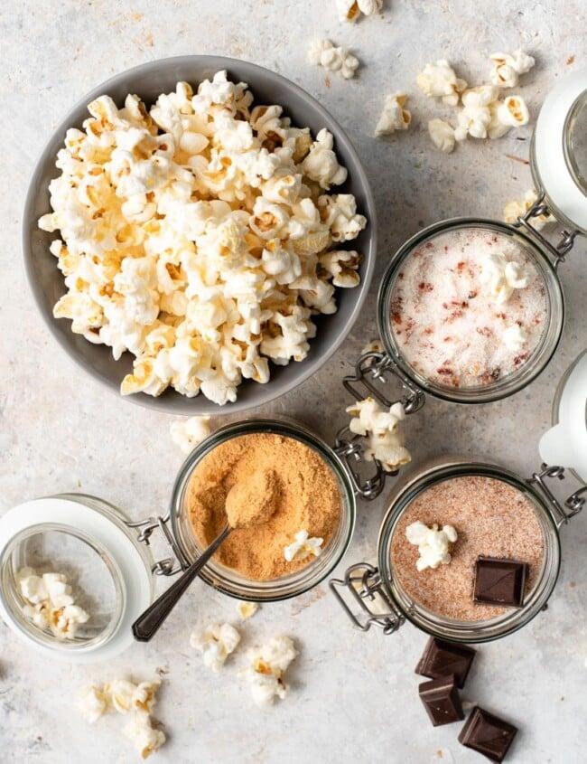 popcorn three ways with different salts