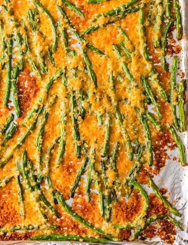 cheesy green beans on foil