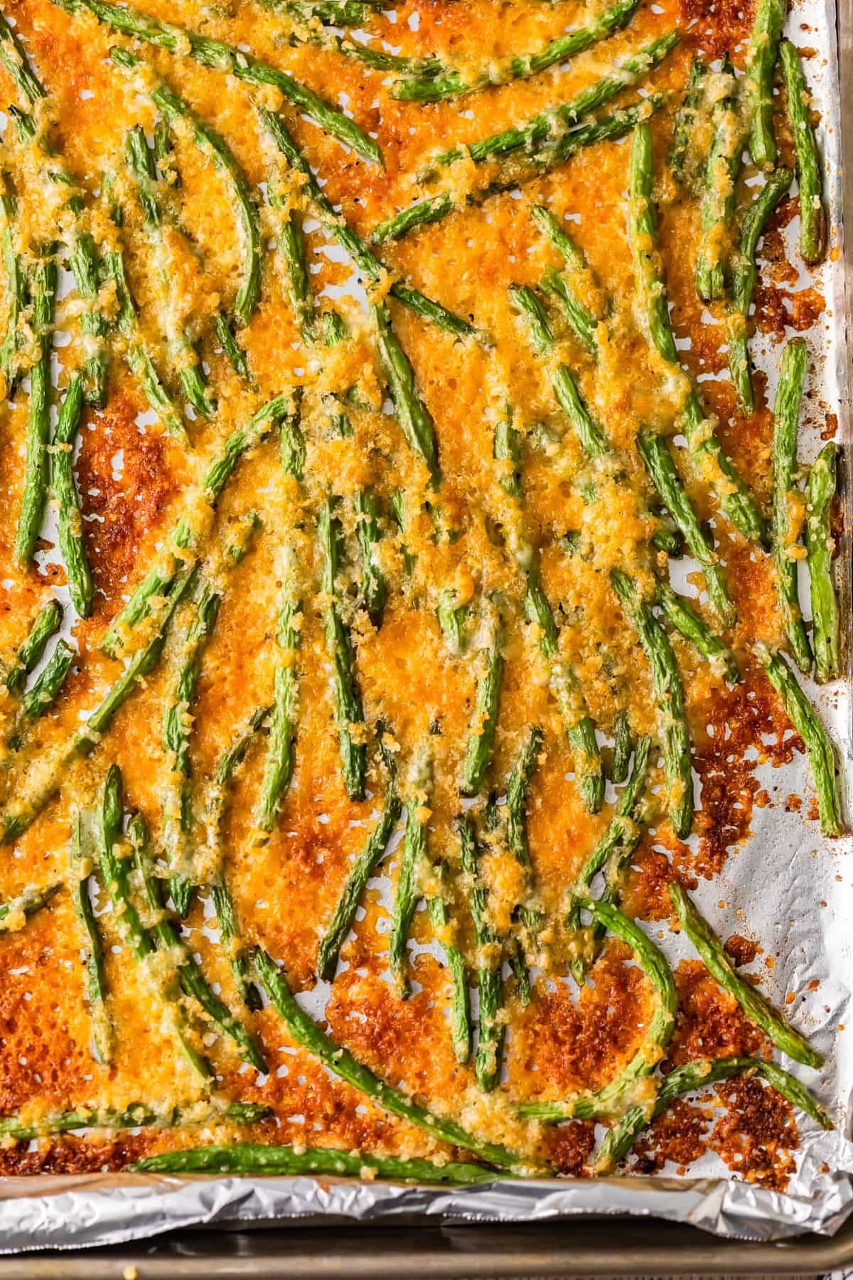 Crispy baked green beans on a sheet pan