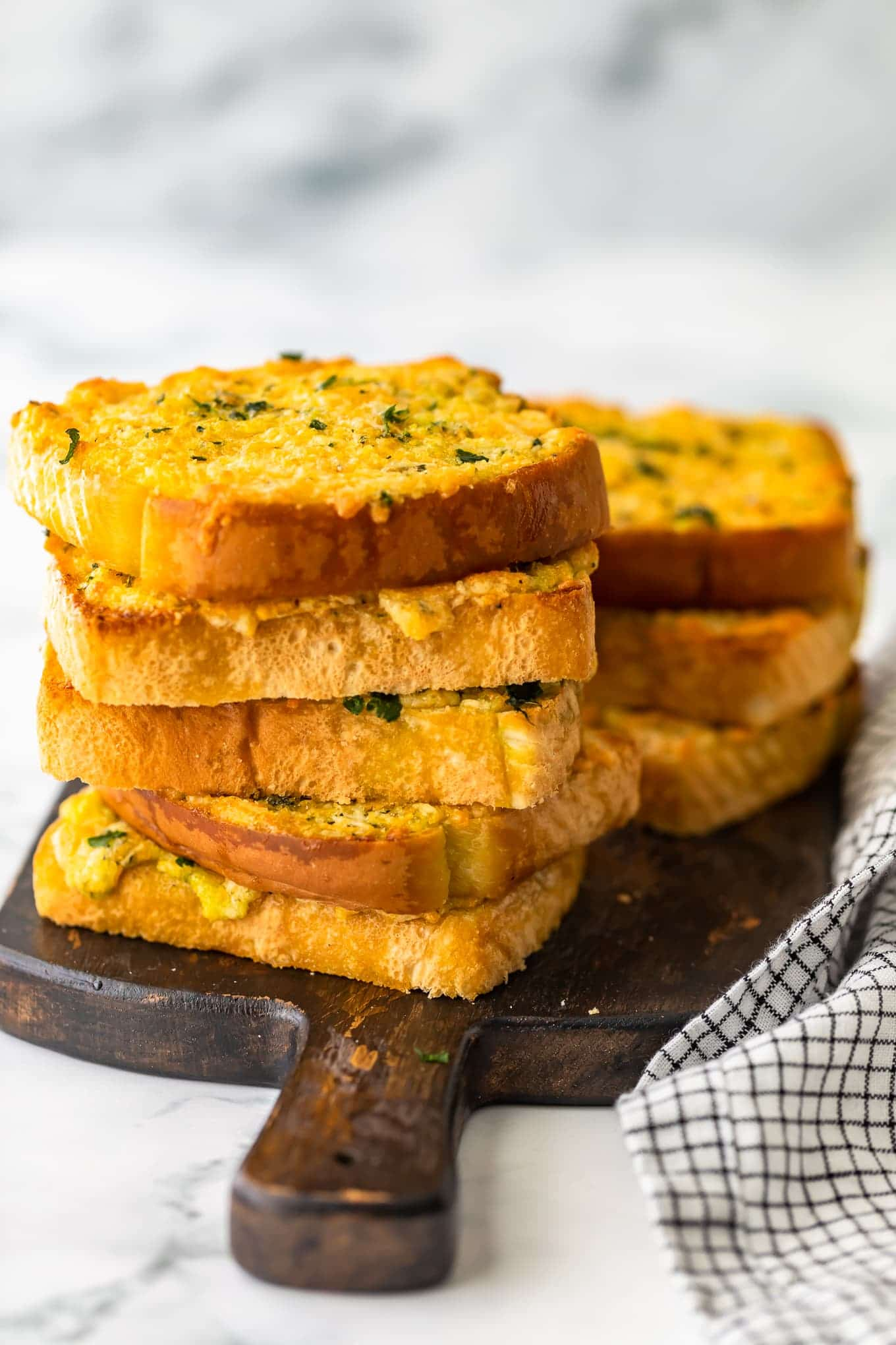 stacked texas toast garlic bread with cheese