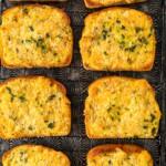 overhead shot of cheesy garlic bread on texas toast