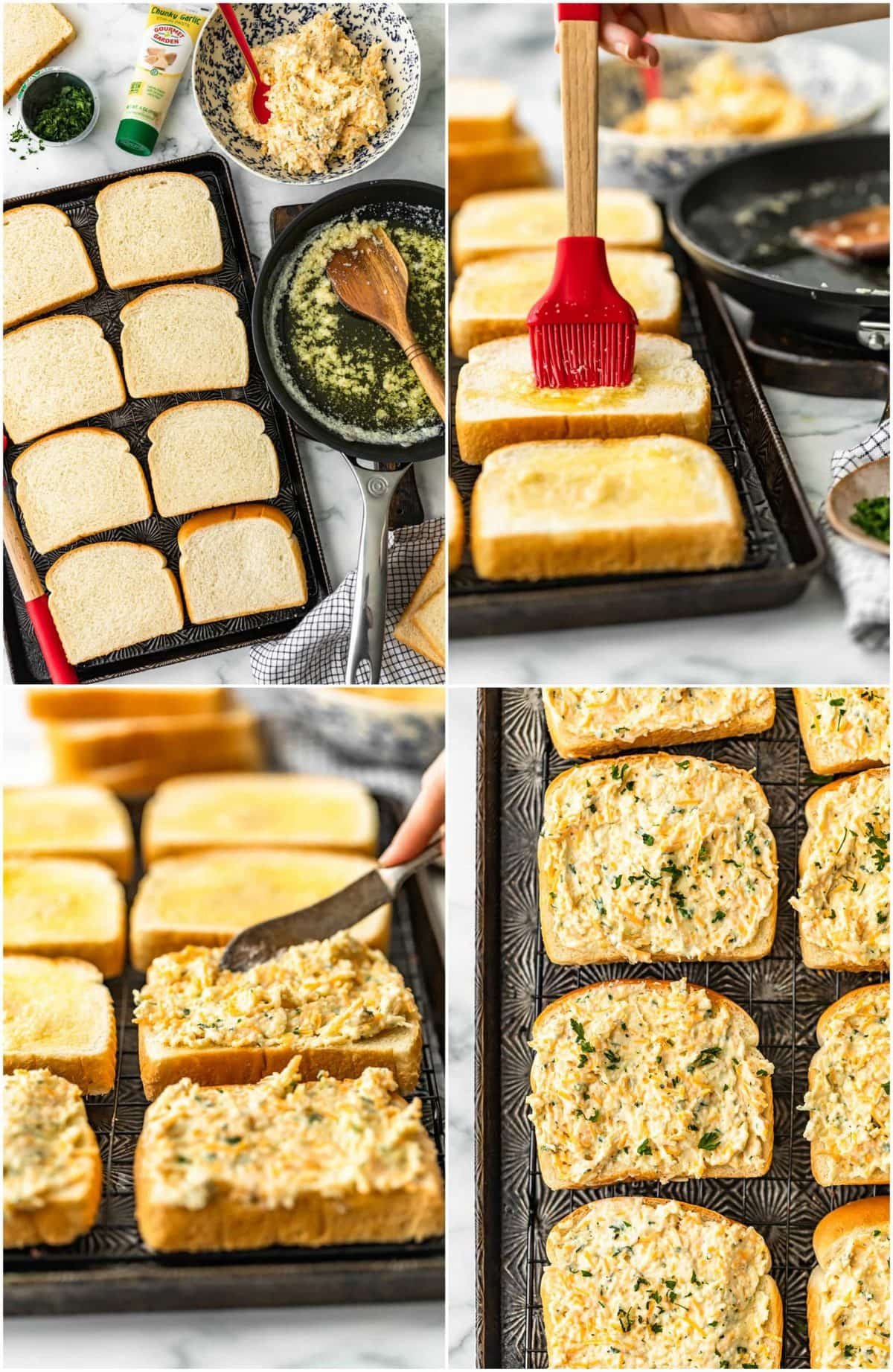 how to make cheesy garlic bread step by step photos