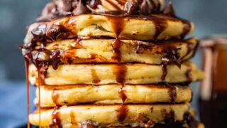 Chocolate Chip Pancakes Recipe with Chocolate Syrup