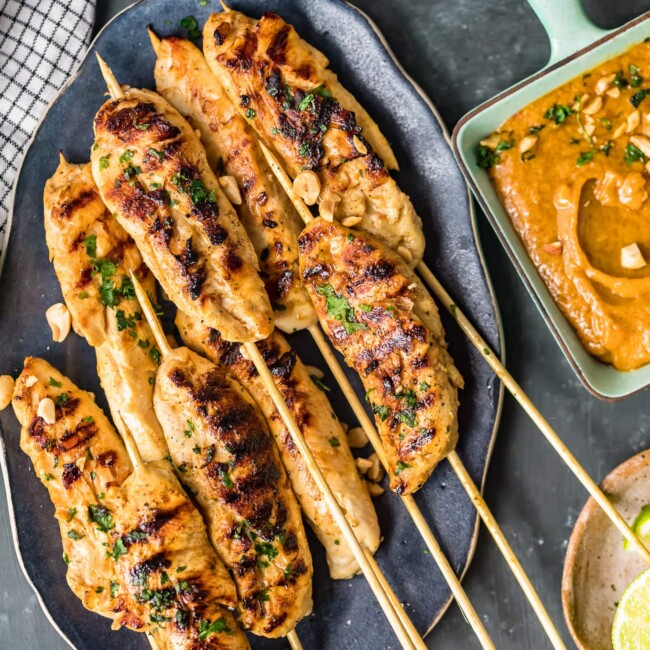 chicken satay on skewers