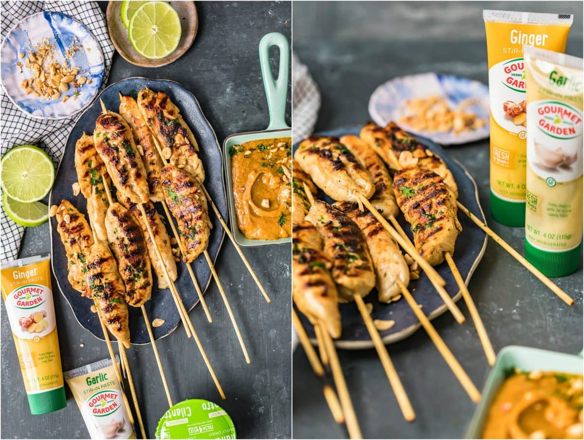 chicken skewers and ingredients arranged on a table