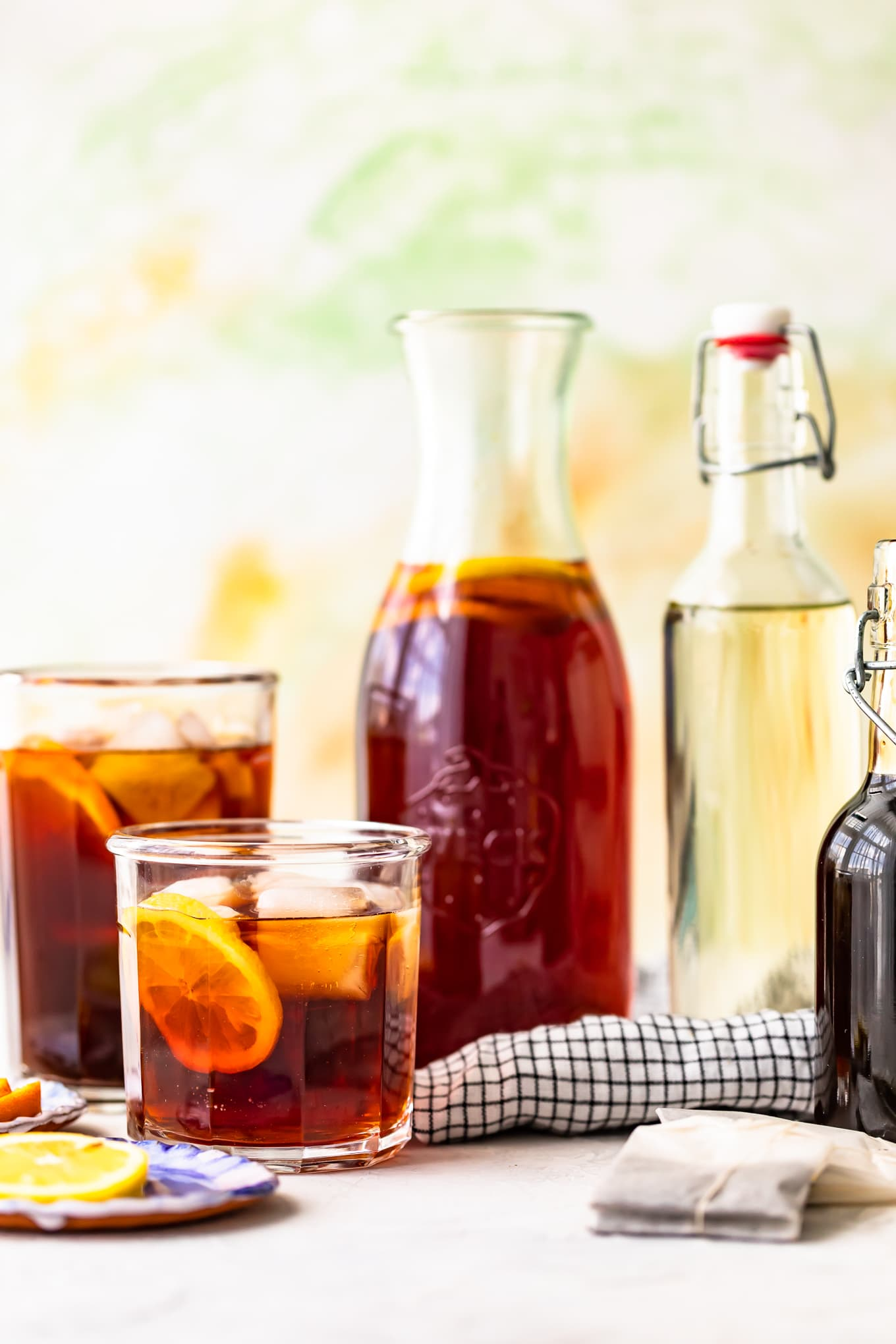 Glasses of homemade sweet iced tea with garnish