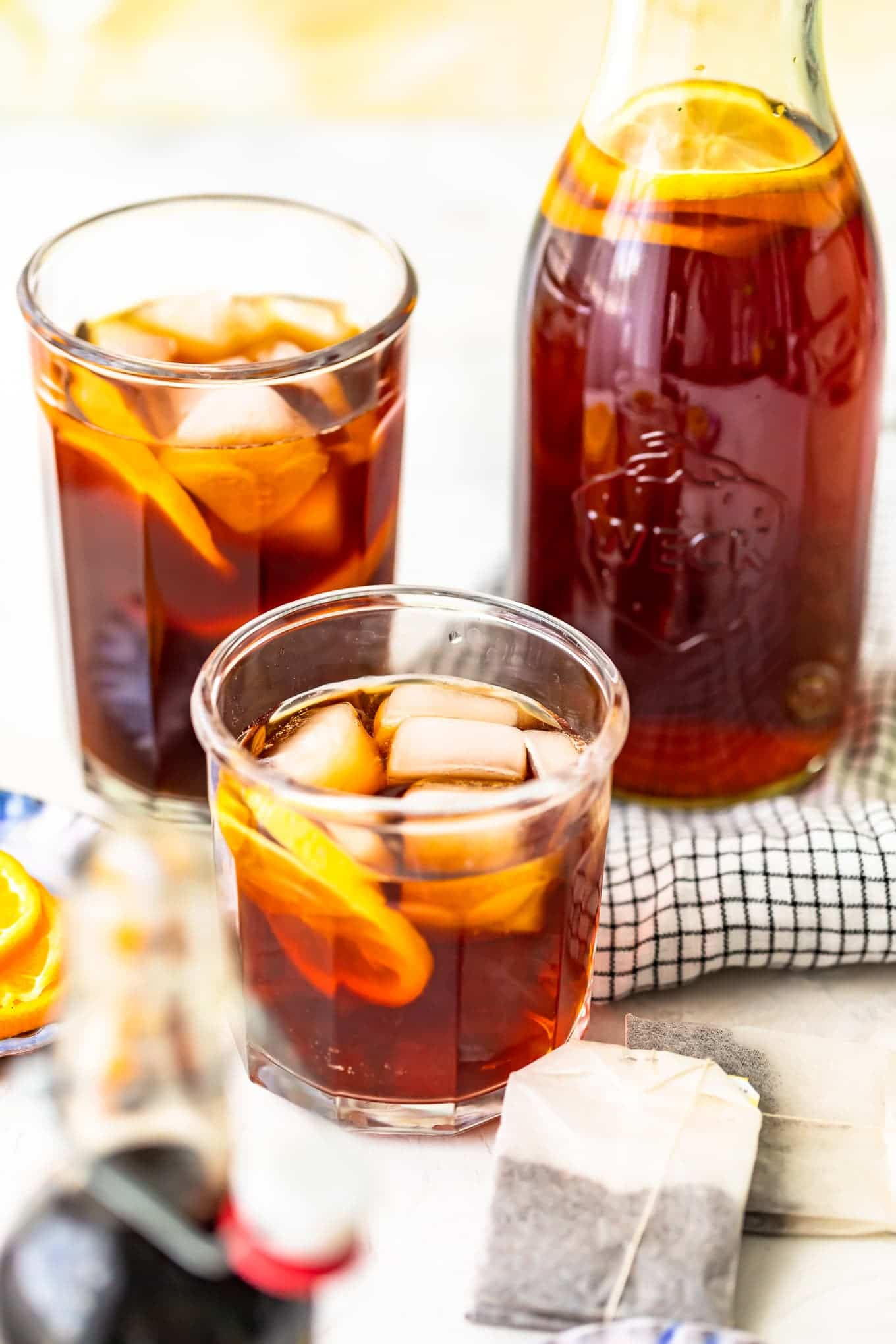 Three glasses of homemade sweet tea