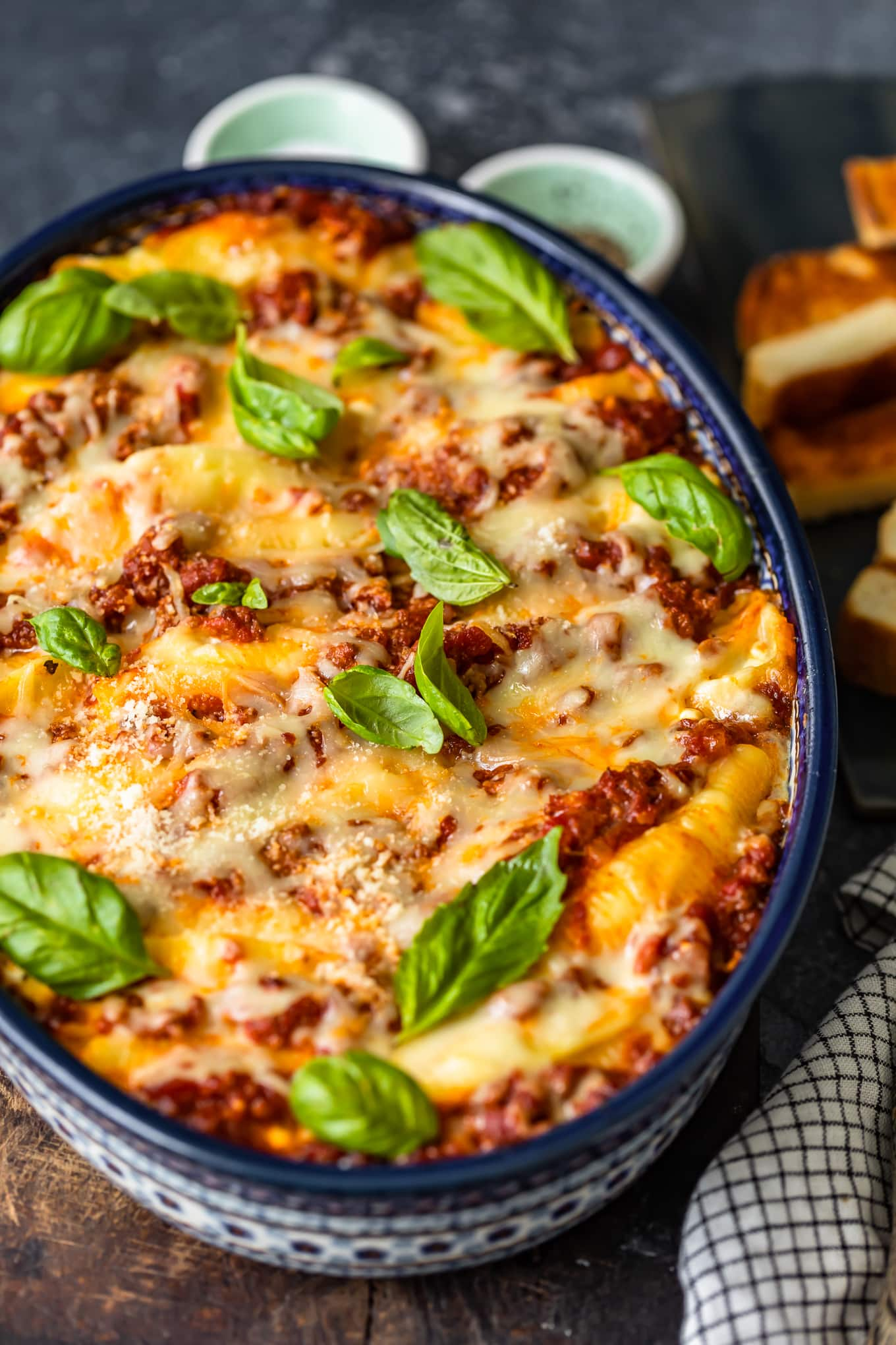 baking dish filled with pasta