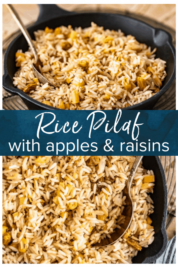 Rice Pilaf is a great side dish for any meal. Make it better by spicing it up with some cinnamon, apples, and raisins like we did in this easy rice pilaf recipe! It's perfect for holidays or any hearty dinner. #thecookierookie #rice #sidedish #holidayrecipes