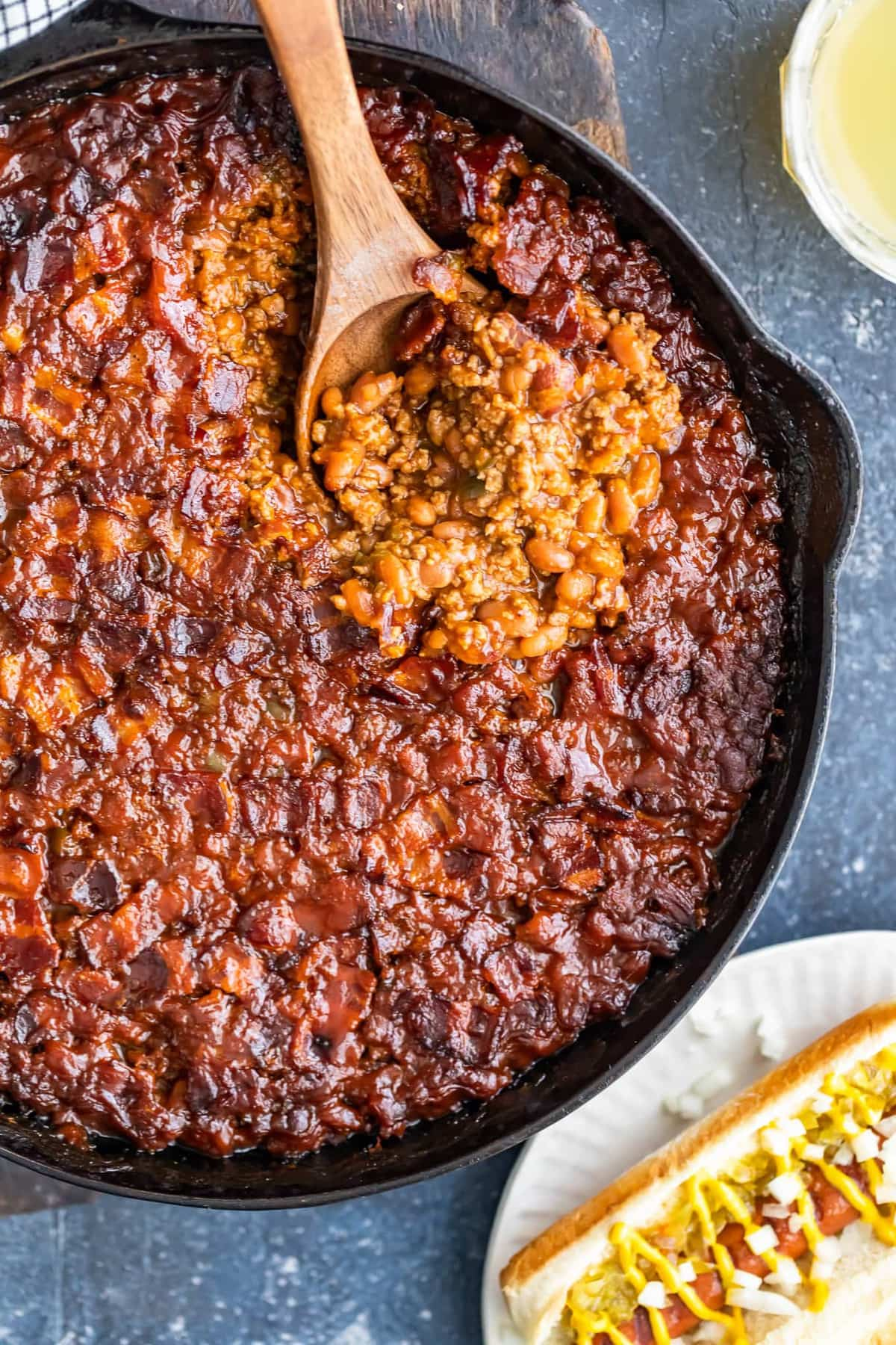 skillet filled with beans, beef, and bacon