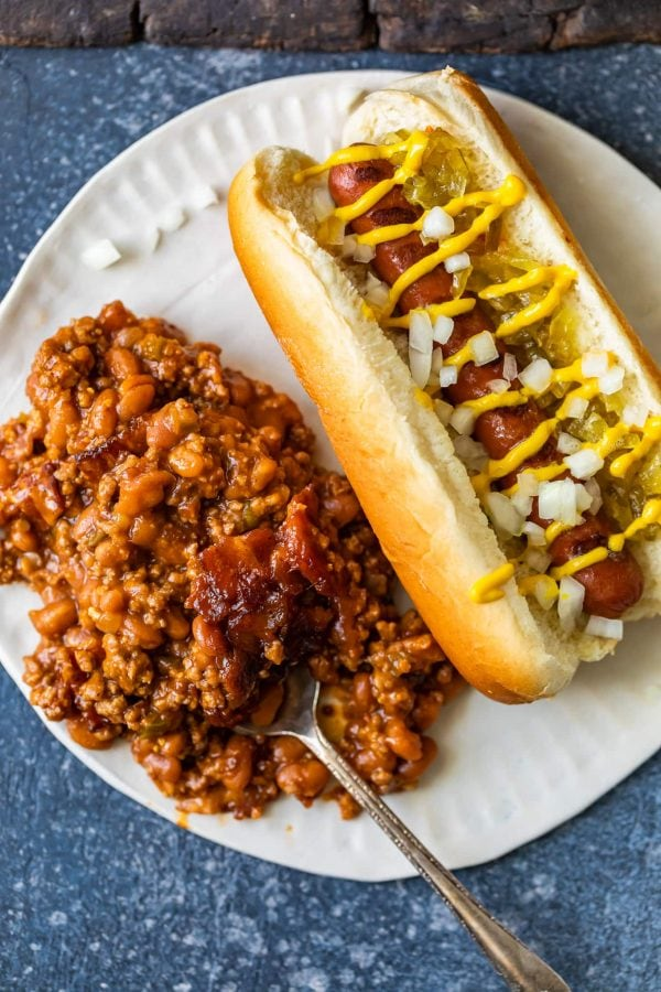 plate with a hot dog and baked beans