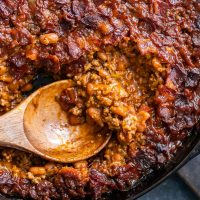 BBQ Baked Beans with Bacon (Skillet Baked Bean Casserole)