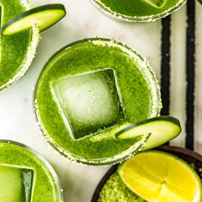 Cucumber margaritas with large square ice