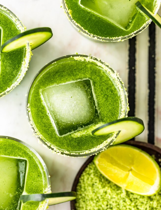 Cucumber margaritas with large square ice