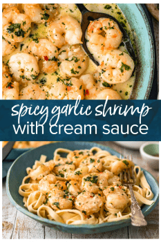 Garlic Shrimp is a simple, easy recipe to make for appetizers or for dinner. This spicy garlic shrimp recipe is just SO tasty, and only takes about 10 minutes to makes. Serve this sauteed garlic shrimp as a quick app, or turn it into a creamy garlic shrimp pasta. Either way, everyone will love it!