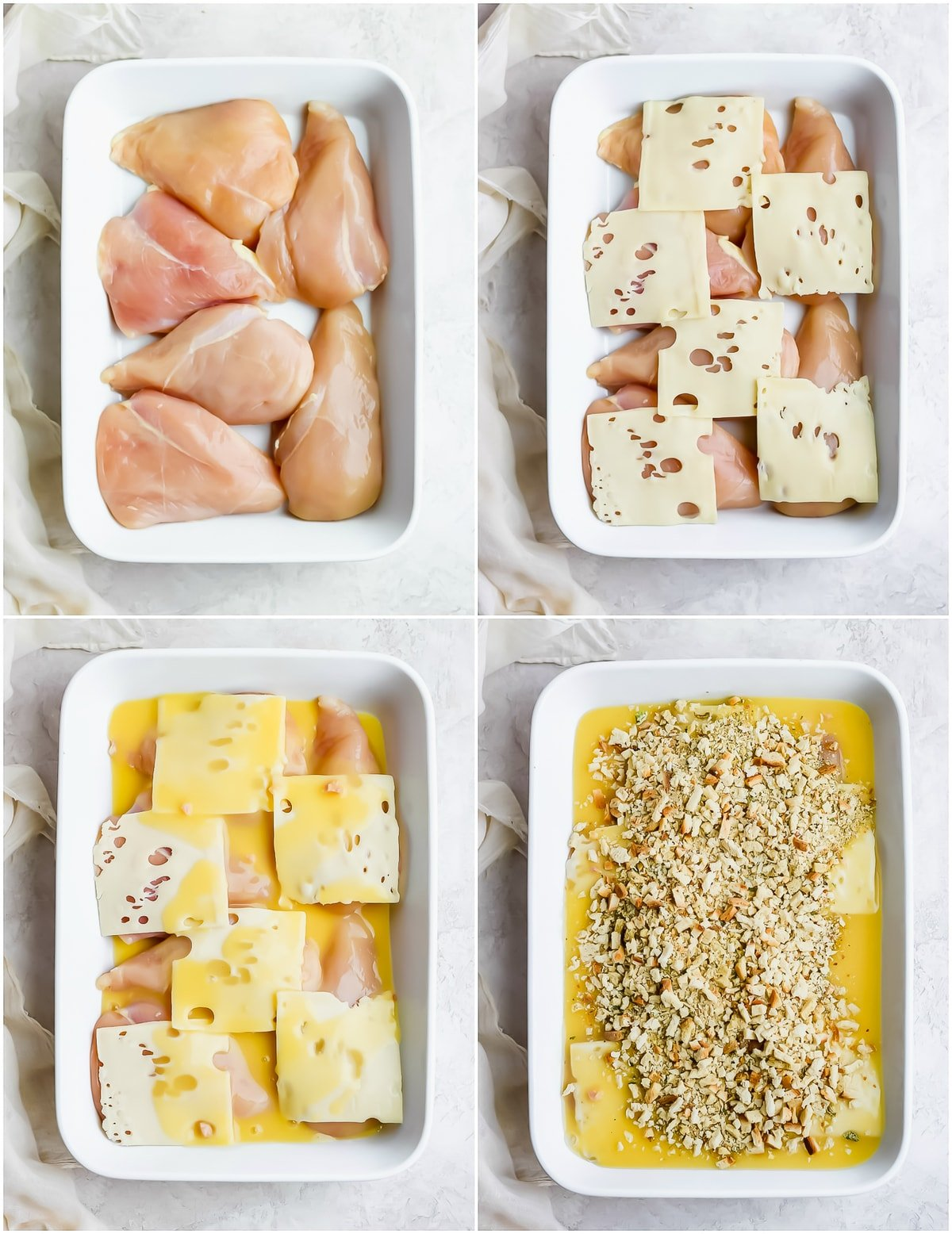 step by step photo collage making swiss chicken bake