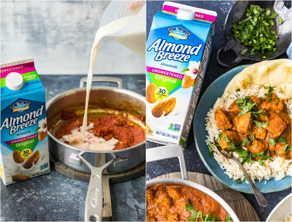 Blue Diamond Almond Milk being used in chicken curry dish