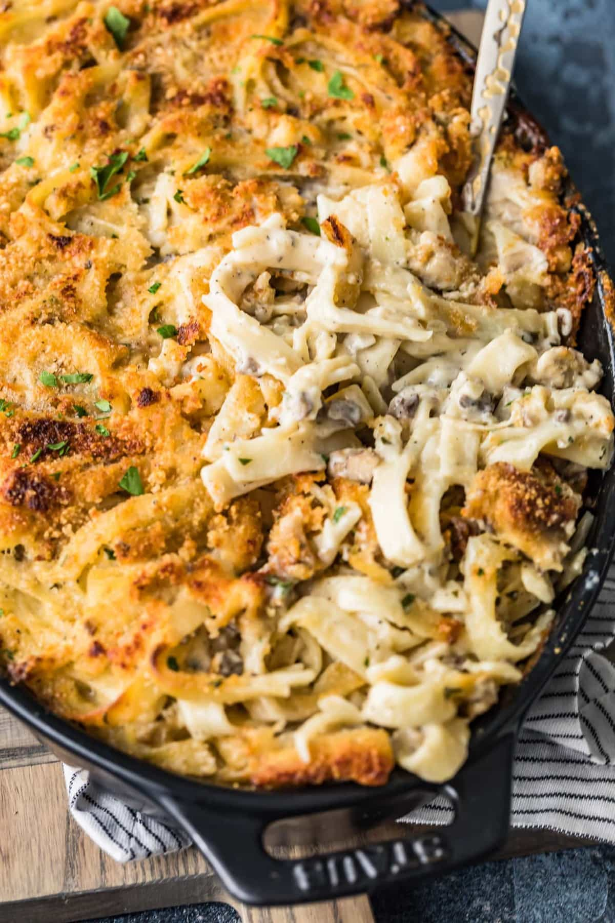 chicken tetrazzini in a casserole dish