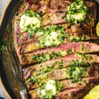 Grilled Flank Steak Recipe with Cilantro Lime Steak Butter