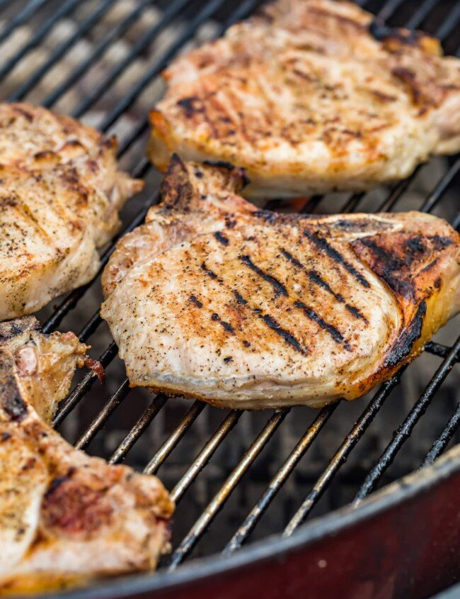 grilled pork chops on the grill
