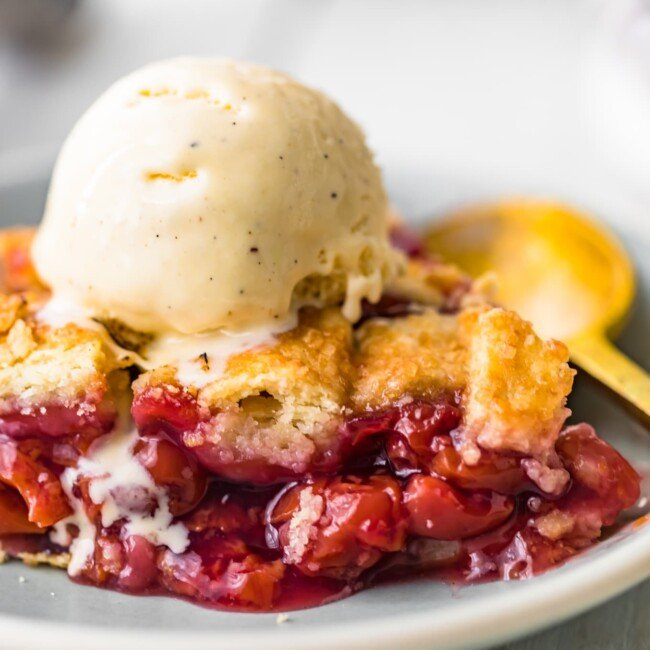 cherry pie topped with ice cream