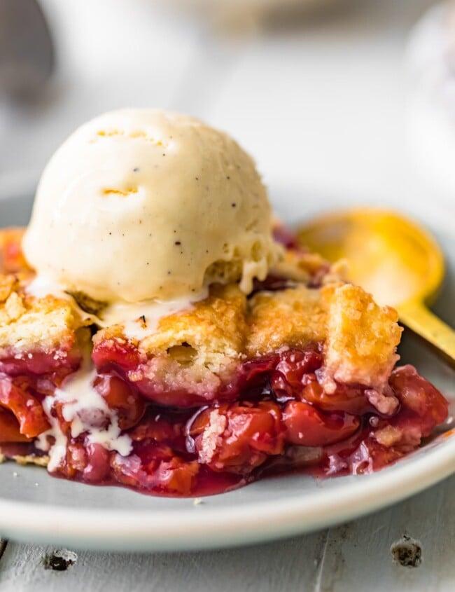 cherry pie topped with ice cream