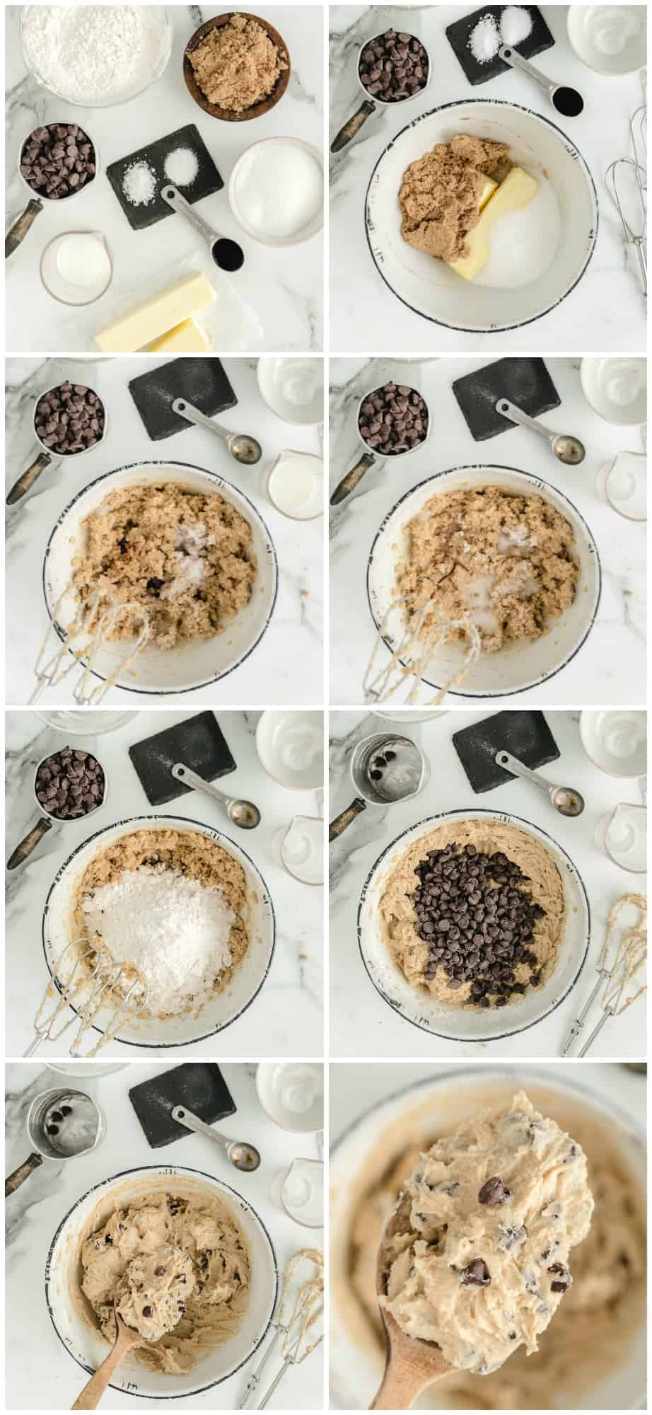 how to make edible chocolate chip cookie dough step by step photos