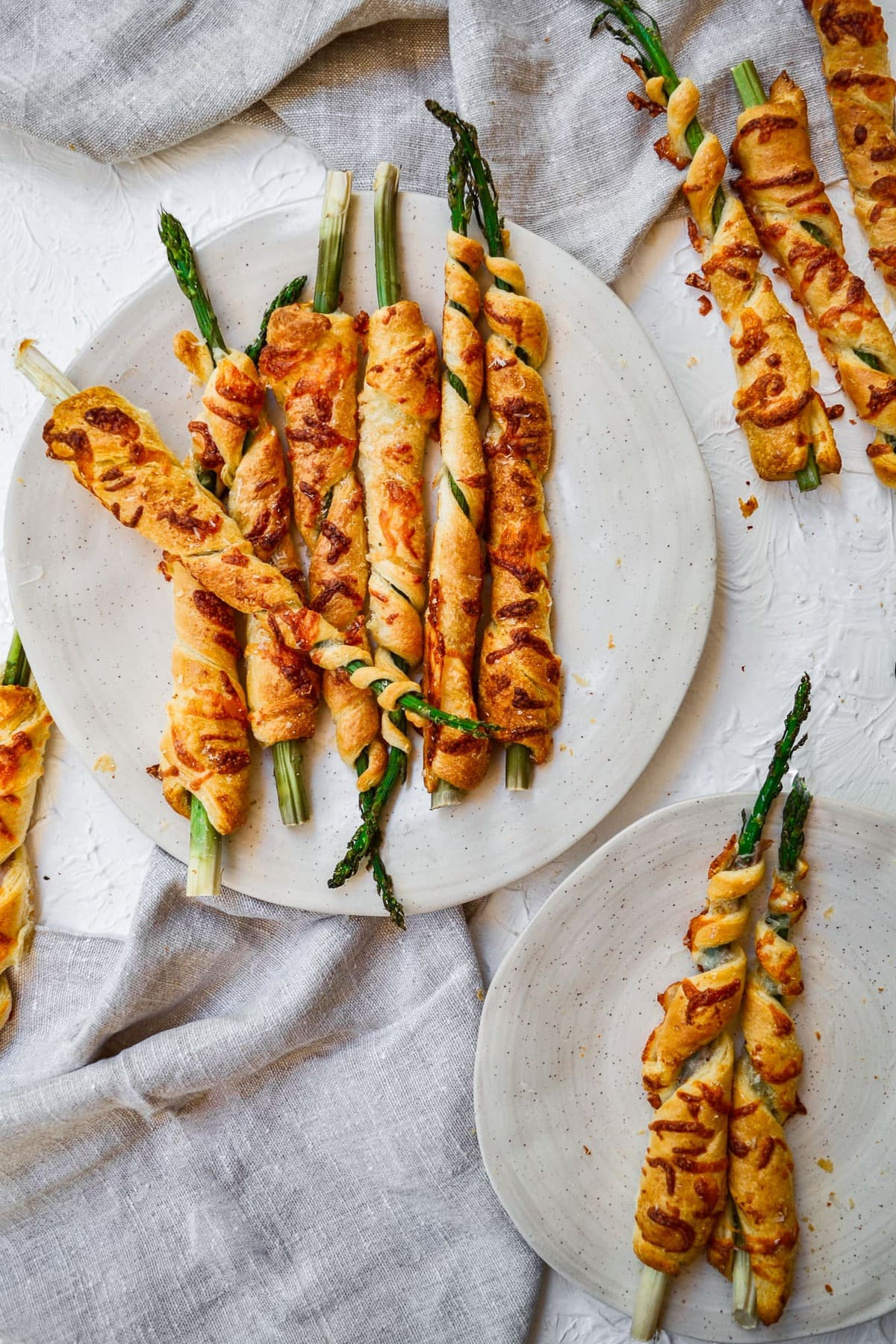 asparagus crescent rolls on a plate