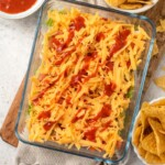taco dip in a baking dish