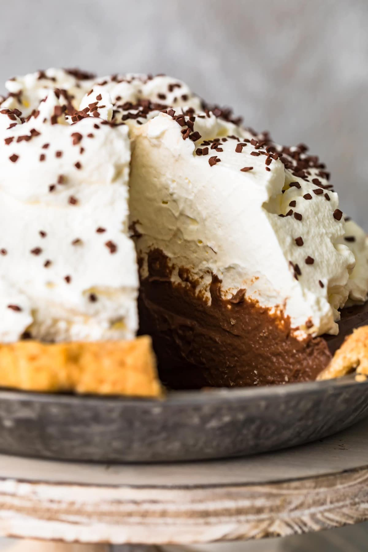 Close up of chocolate cream pie