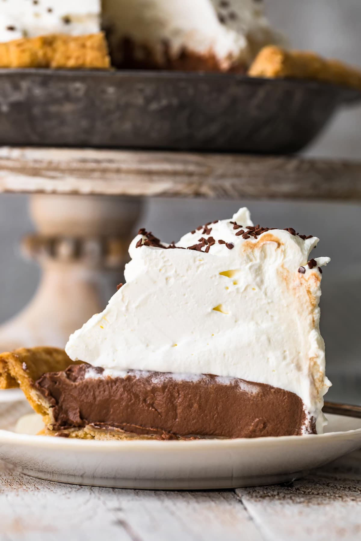 Close up of a slice of chocolate cream pie