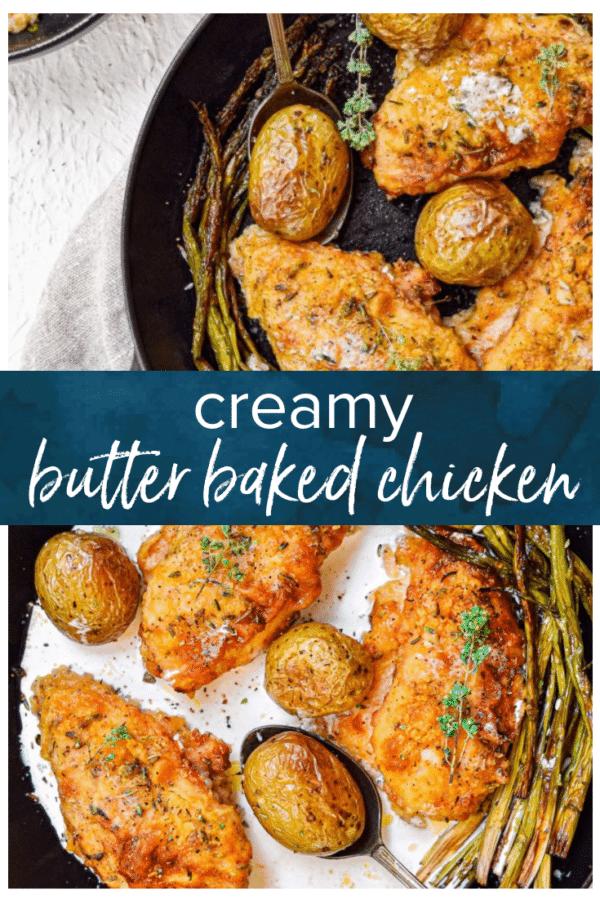 creamy butter baked chicken pinterest collage