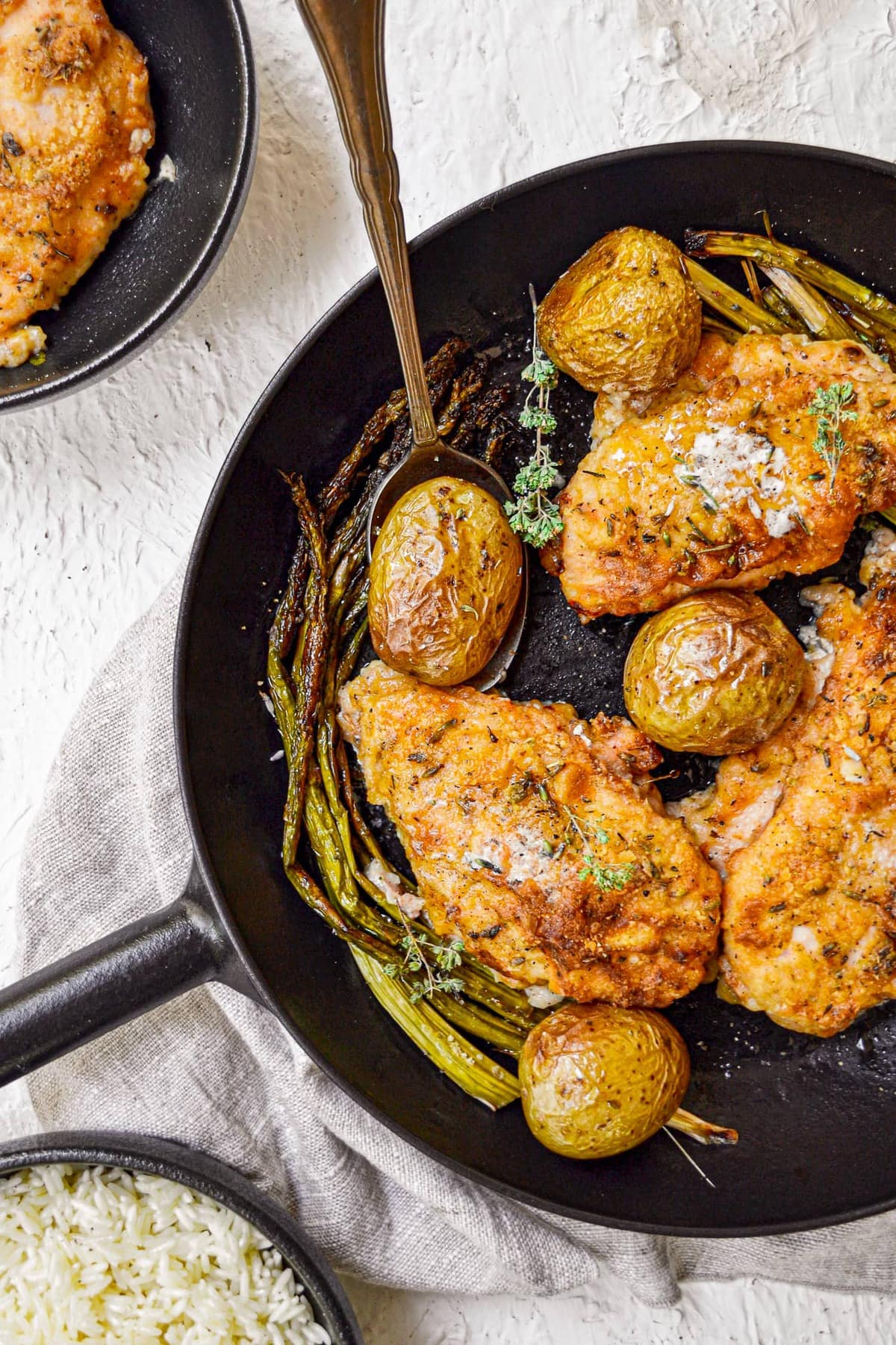 baked chicken with asparagus and potatoes