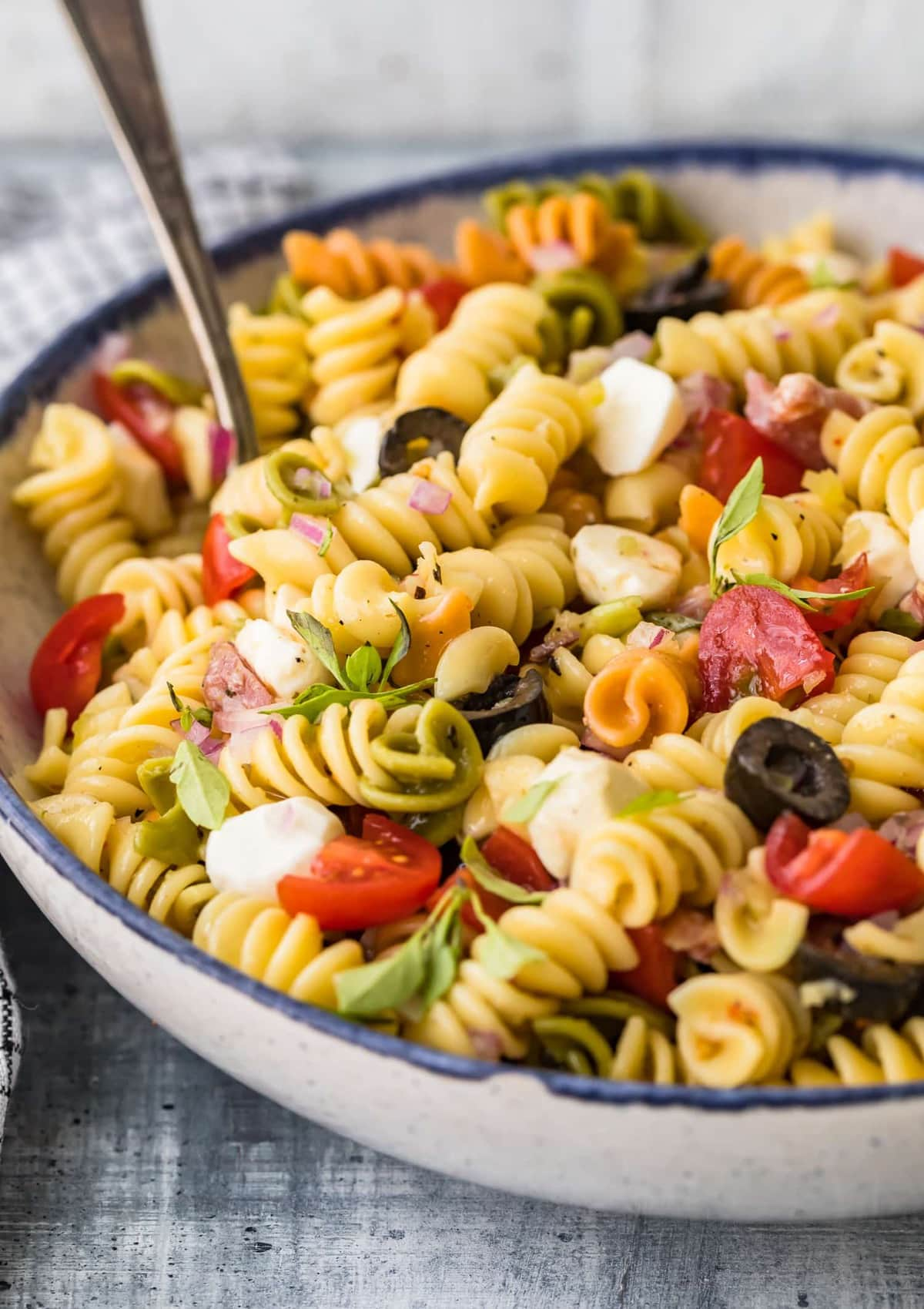 Classic Italian Pasta Salad Recipe in a bowl on a work surface