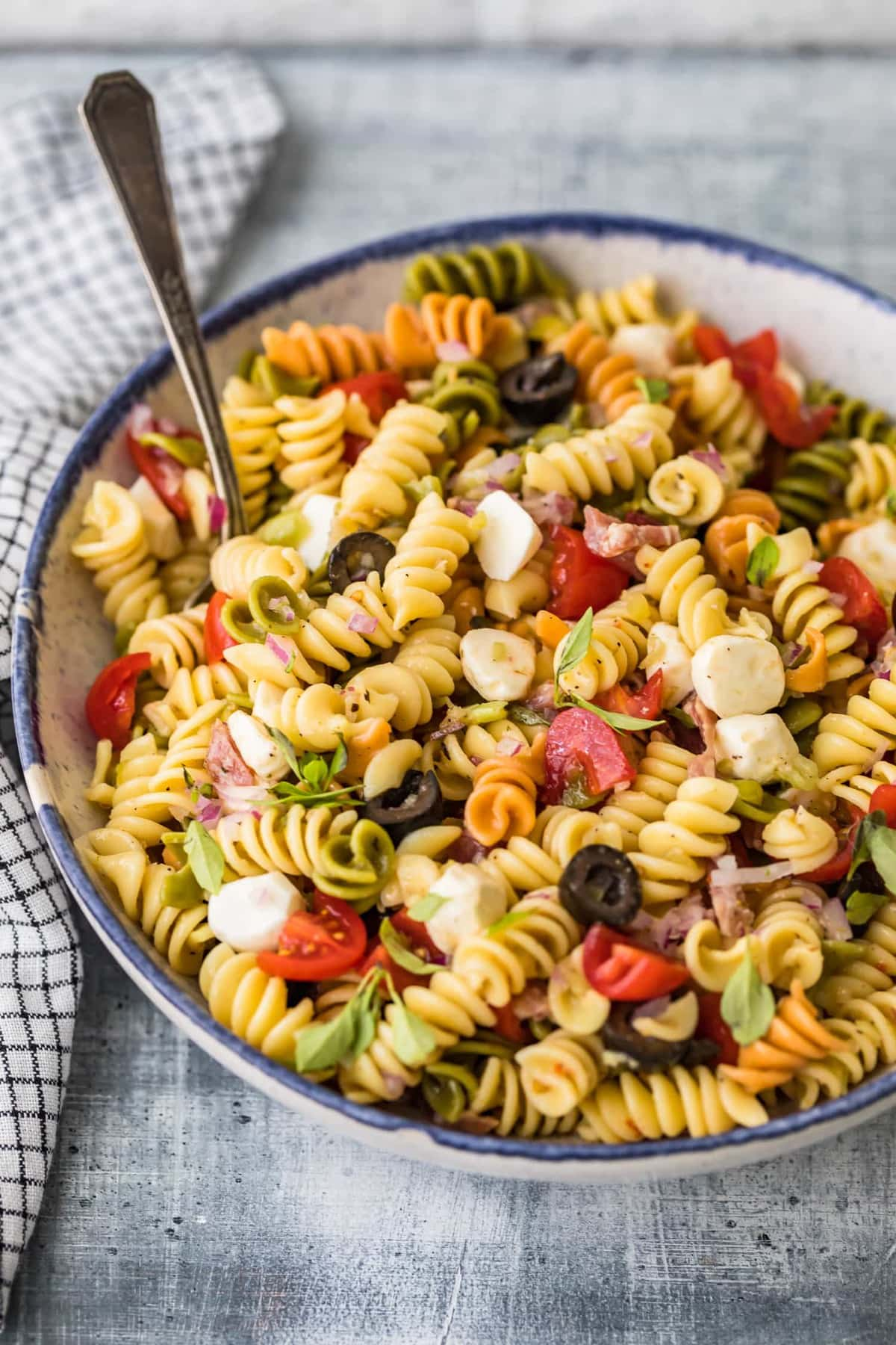 Classic Italian Pasta Salad Recipe served in a bowl with a spoon