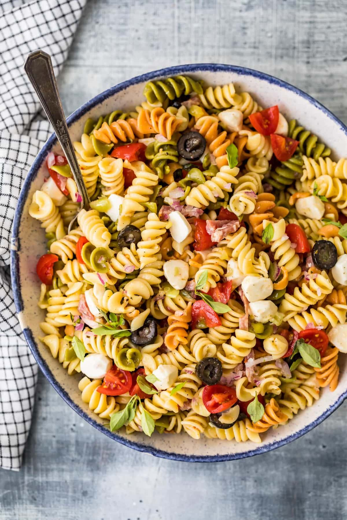 Top shot of Classic Italian Pasta Salad Recipe in a bowl