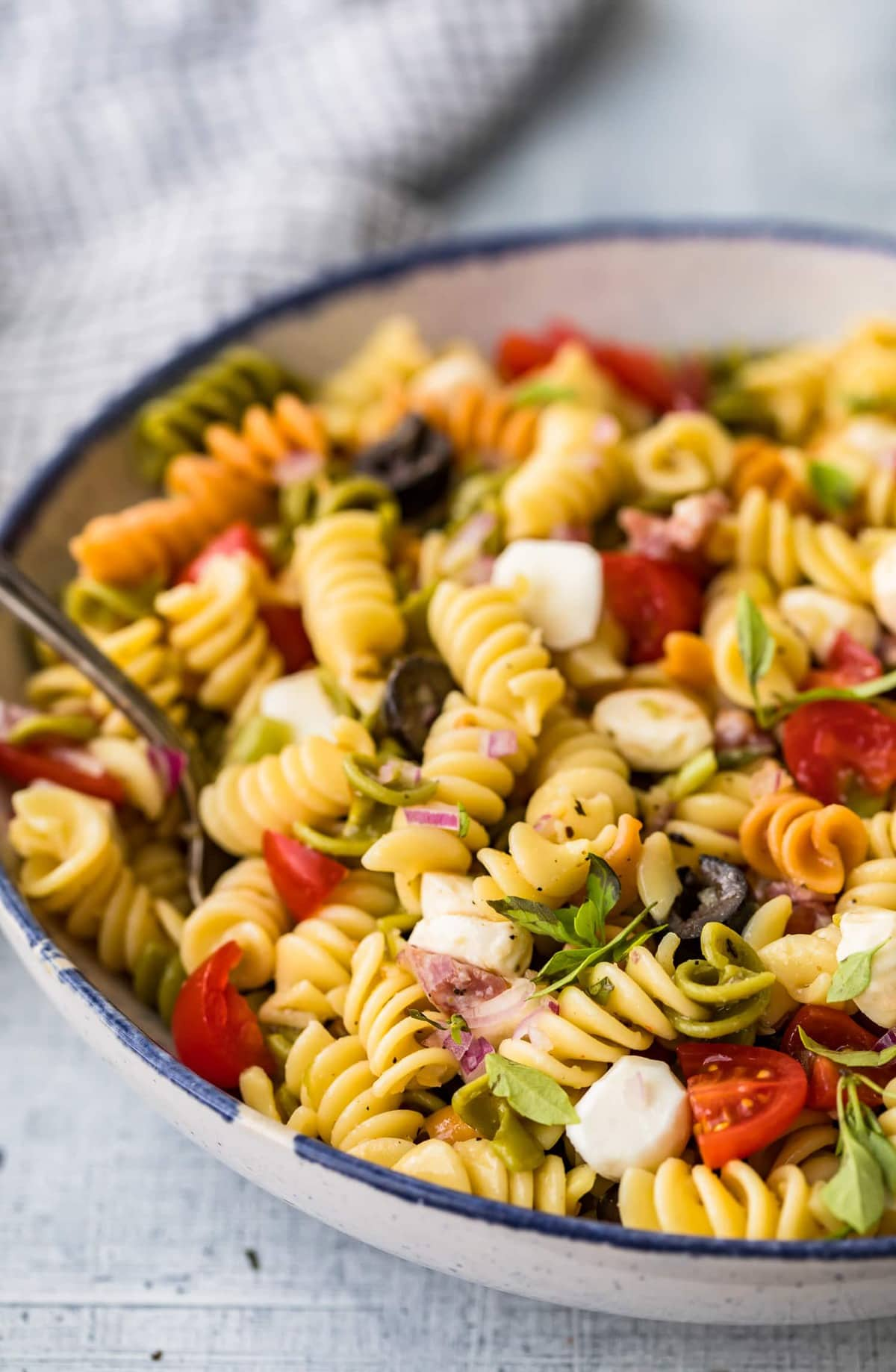 Close up of pasta salad