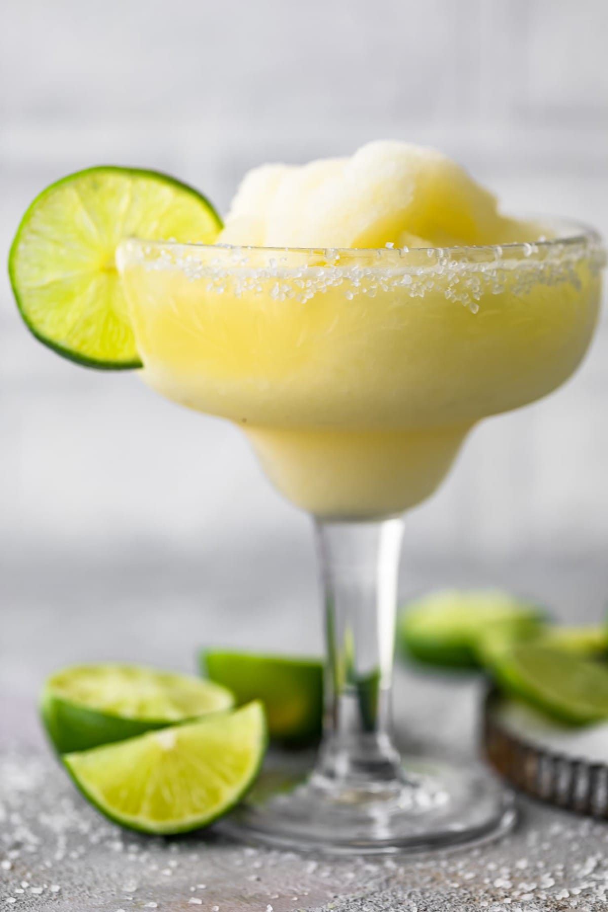 Close up of a frozen margarita