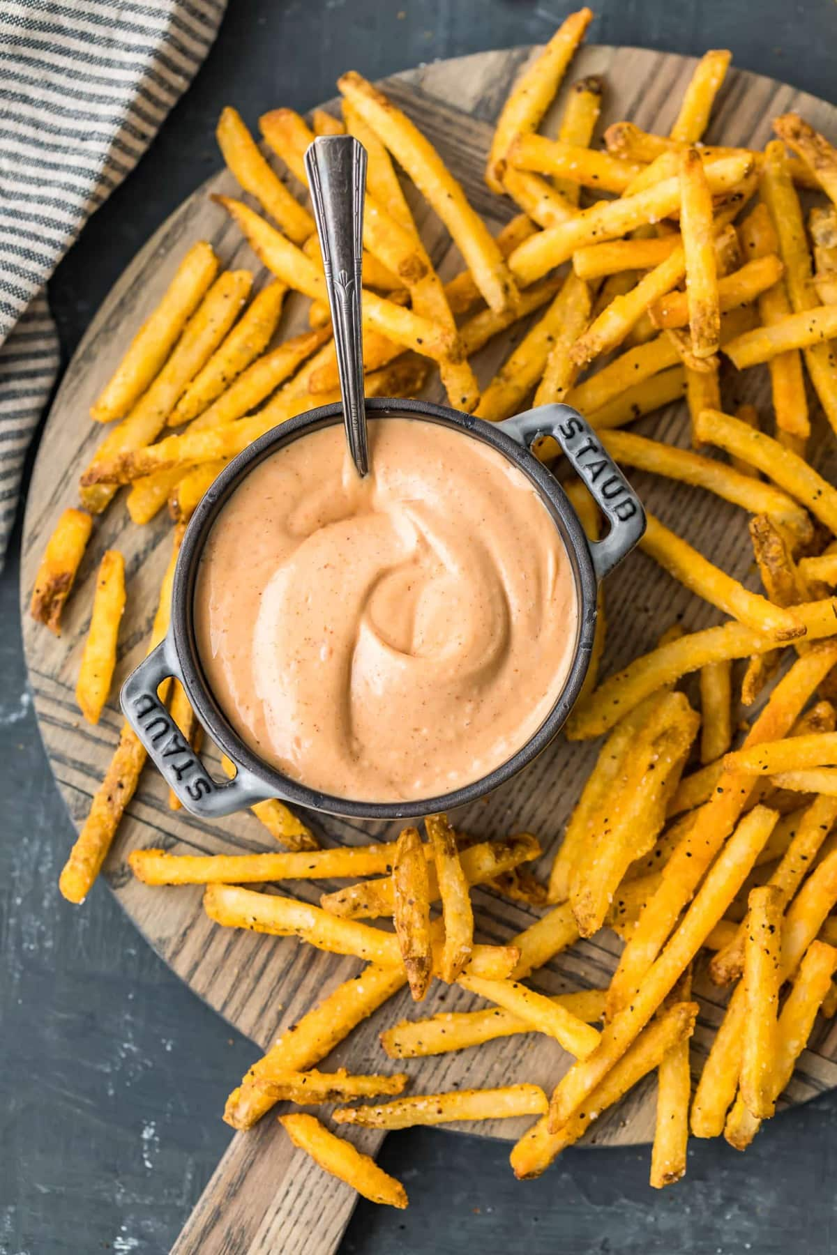 Fry sauce in a small metal pot