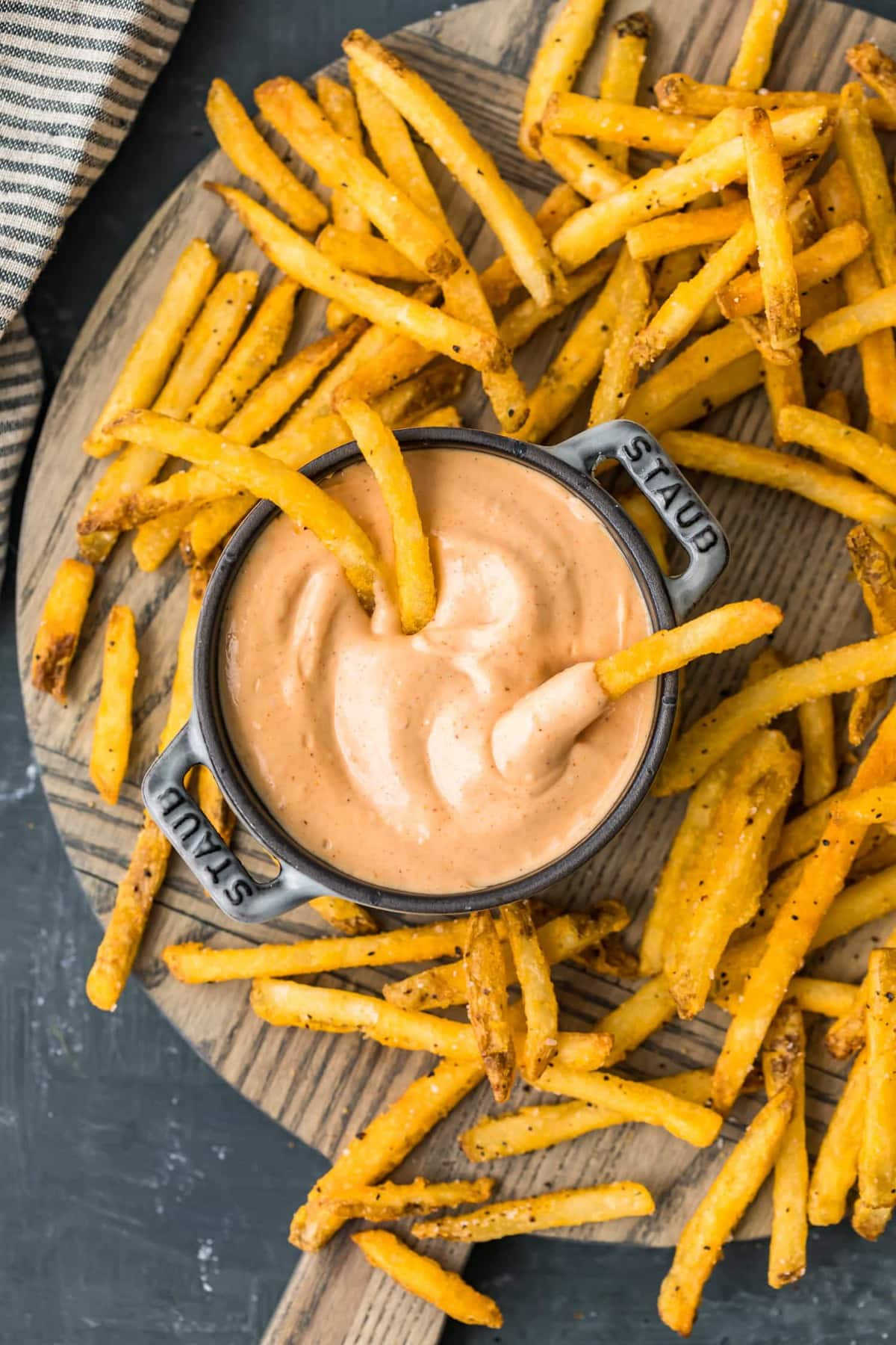 Fries dipped in fry sauce