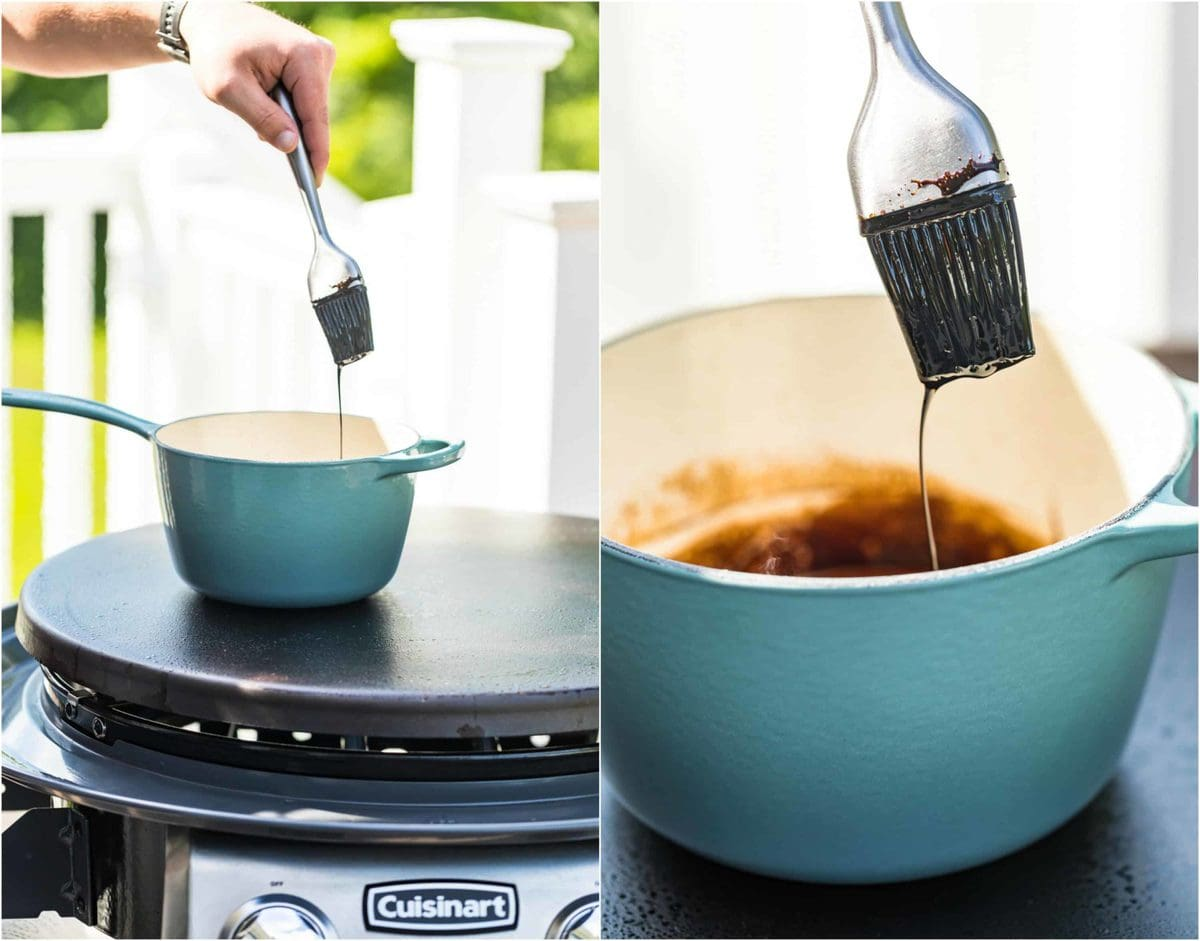 photo collage of a pot on top of an outdoor griddle